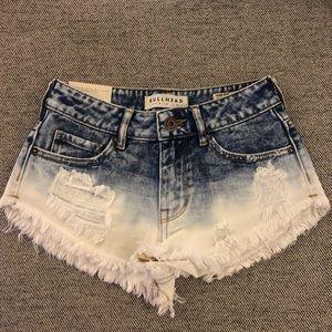 Bullhead || Dip Dye Bleached Denim Shorts